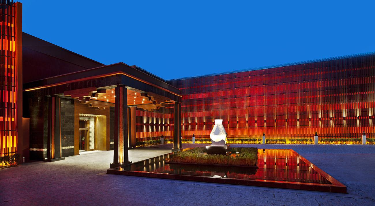 The st regis lhasa resort in tibet for Hotel entrance decor